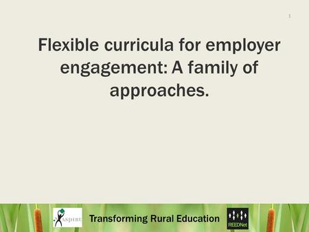 Transforming Rural Education 1 Flexible curricula for employer engagement: A family of approaches.