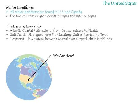 The United States Major Landforms The Eastern Lowlands