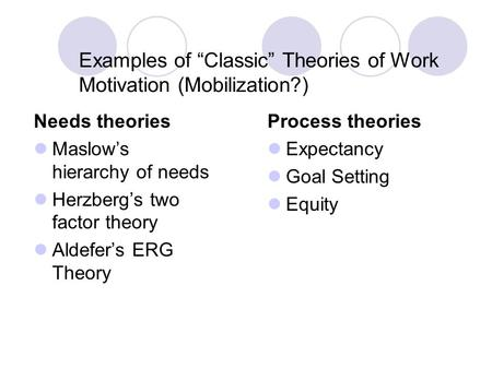 "Examples of ""Classic"" Theories of Work Motivation (Mobilization?) Needs theories Maslow's hierarchy of needs Herzberg's two factor theory Aldefer's ERG."