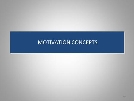 Learning Objectives: Motivation