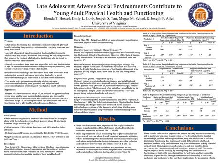 Late Adolescent Adverse Social Environments Contribute to Young Adult Physical Health and Functioning. Elenda T. Hessel, Emily L. Loeb, Jospeh S. Tan,