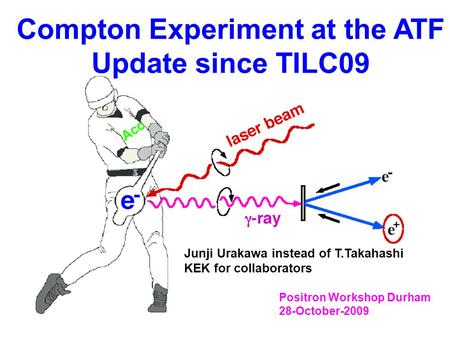 Compton Experiment at the ATF Update since TILC09 Positron Workshop Durham 28-October-2009 Junji Urakawa instead of T.Takahashi KEK for collaborators.