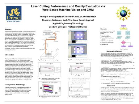 Laser Cutting Performance and Quality Evaluation via Web-Based Machine Vision and CMM Principal Investigators: Dr. Richard Chiou, Dr. Michael Mauk Research.