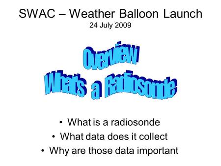 SWAC – Weather Balloon Launch 24 July 2009 What is a radiosonde What data does it collect Why are those data important.