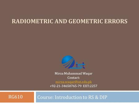 Radiometric and Geometric Errors
