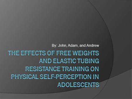 By: John, Adam, and Andrew. Purpose  To explore the effect of free weights and elastic tubing resistance training on physical self-perception in adolescents.