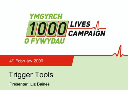 Trigger Tools 4 th February 2009 Presenter: Liz Baines.