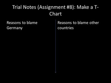 Trial Notes (Assignment #8): Make a T- Chart Reasons to blame Germany Reasons to blame other countries.