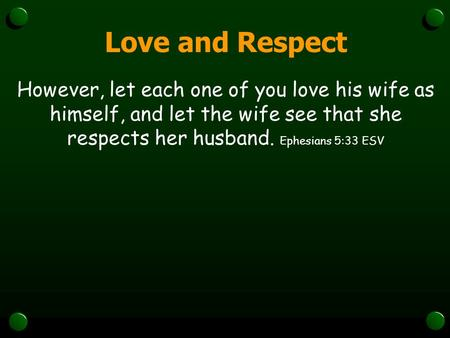 Love and Respect However, let each one of you love his wife as himself, and let the wife see that she respects her husband. Ephesians 5:33 ESV.