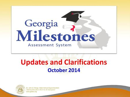 Updates and Clarifications October 2014. Calculator Policy For the 2014-2015 school year, students who test online may use a hand-held calculator, in.