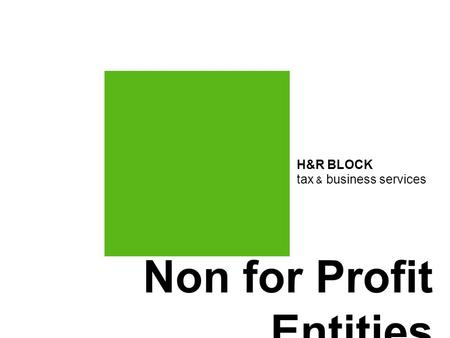 Non for Profit Entities