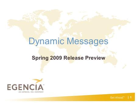 | 1 Dynamic Messages Spring 2009 Release Preview.