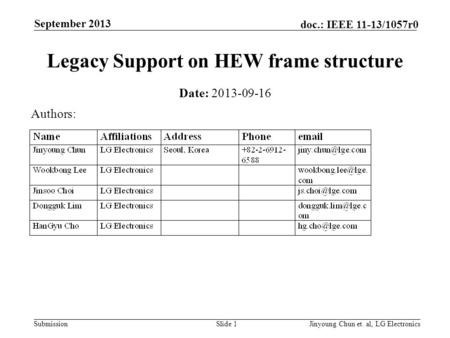 Submission doc.: IEEE 11-13/1057r0 September 2013 Jinyoung Chun et. al, LG ElectronicsSlide 1 Legacy Support on HEW frame structure Date: 2013-09-16 Authors: