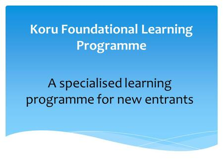 Koru Foundational Learning Programme A specialised learning programme for new entrants.