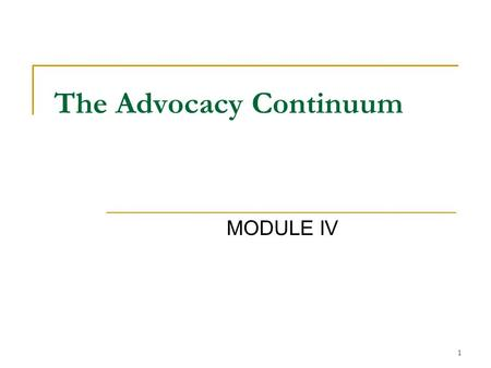 1 The Advocacy Continuum MODULE IV. 2 What are the Roles of a CAC* Member? Advisor Educator Advocate The role is dependent upon who you are speaking to.