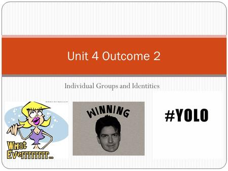 Individual Groups and Identities Unit 4 Outcome 2.