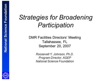National Science Foundation Strategies for Broadening Participation DMR Facilities Directors' Meeting Tallahassee, FL September 20, 2007 Roosevelt Y. Johnson,