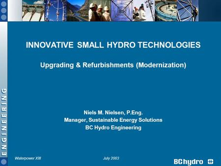 INNOVATIVE SMALL <strong>HYDRO</strong> TECHNOLOGIES