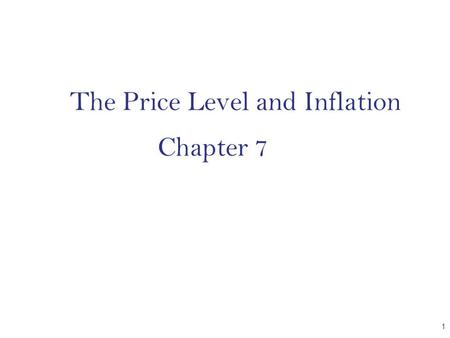 The Price Level and Inflation