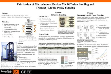 CBEE Fabrication of Microchannel Devices Via Diffusion Bonding and Transient Liquid Phase Bonding Purpose: To reduce the device size of microfluidic devices.