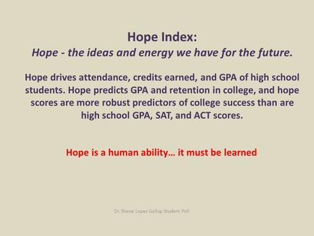 Hope Index: Hope - the ideas and energy we have for the future. Hope drives attendance, credits earned, and GPA of high school students. Hope predicts.