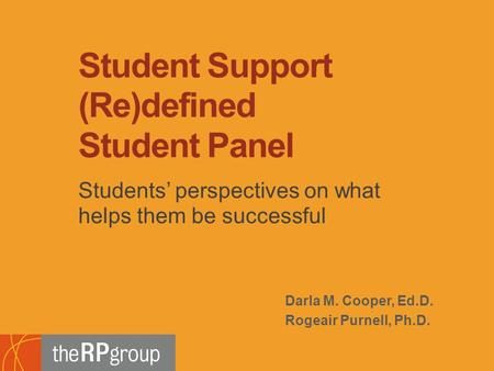 Darla M. Cooper, Ed.D. Rogeair Purnell, Ph.D. Students' perspectives on what helps them be successful Student Support (Re)defined Student Panel.
