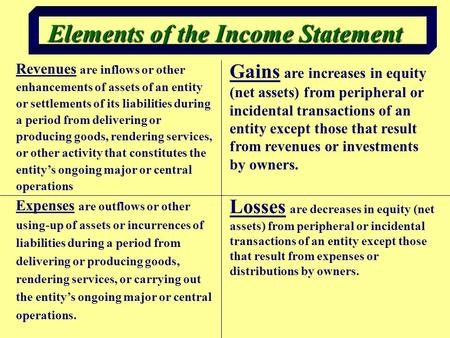 Elements of the Income Statement Revenues are inflows or other enhancements of assets of an entity or settlements of its liabilities during a period from.