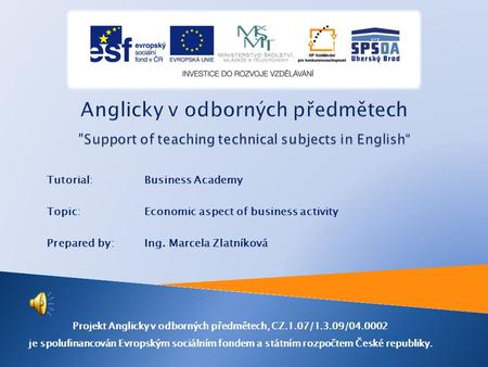 Tutorial:Business Academy Topic: Economic aspect of business activity Prepared by:Ing. Marcela Zlatníková Projekt Anglicky v odborných předmětech, CZ.1.07/1.3.09/04.0002.
