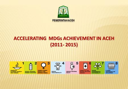 ACCELERATING MDGs ACHIEVEMENT IN ACEH (2011- 2015) PEMERINTAH ACEH.
