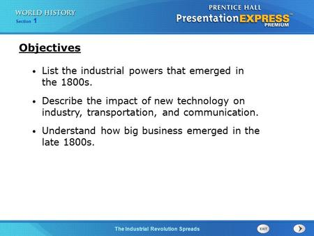 Objectives List the industrial powers that emerged in the 1800s.