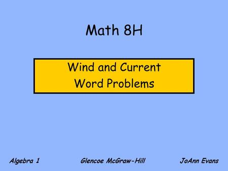 Wind and Current Word Problems