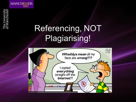 Referencing, NOT Plagiarising!. Outline Referencing Citations Creating a reference list Plagiarism Recognising what it is How to avoid it.