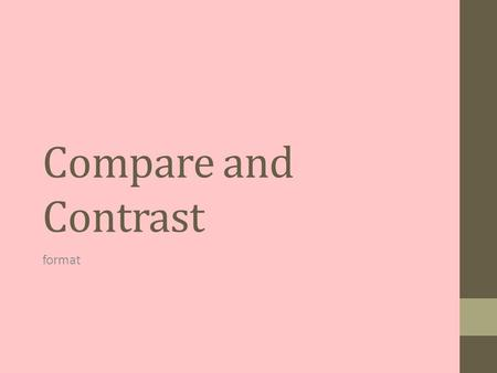 Compare and Contrast format. Introduction Opening Statement: interesting fact, interesting statement about topic, an important quotation....attention.
