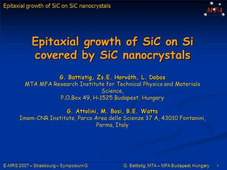 Epitaxial growth of SiC on Si covered by SiC nanocrystals G