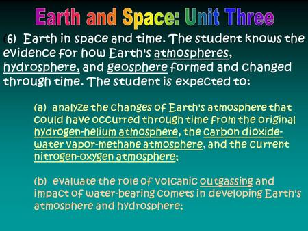(6) Earth in space and time. The student knows the evidence for how Earth's atmospheres, hydrosphere, and geosphere formed and changed through time. The.