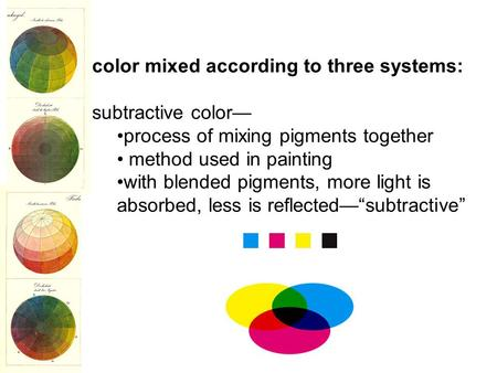 Color mixed according to three systems: subtractive color— process of mixing pigments together method used in painting with blended pigments, more light.