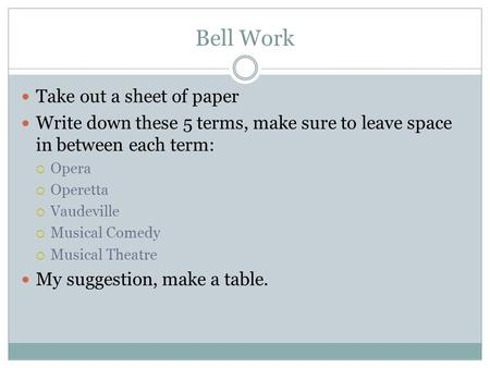 Bell Work Take out a sheet of paper Write down these 5 terms, make sure to leave space in between each term:  Opera  Operetta  Vaudeville  Musical.