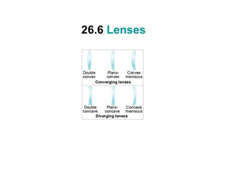 26.6 Lenses. Converging Lens Focal length of a converging lens is real and considered positive.