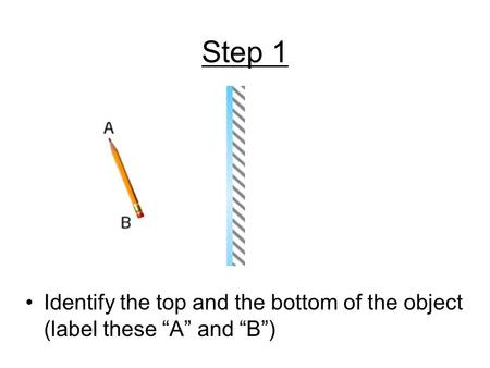 "Step 1 Identify the top and the bottom of the object (label these ""A"" and ""B"")"