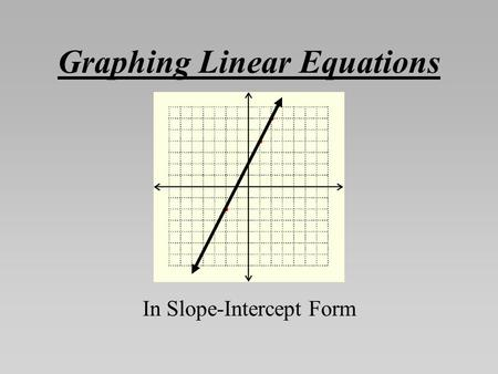 Graphing Linear Equations In Slope-Intercept Form.