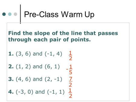Pre-Class Warm Up Find the slope of the line that passes through each pair of points. 1. (3, 6) and (-1, 4) 2. (1, 2) and (6, 1) 3. (4, 6) and (2, -1)