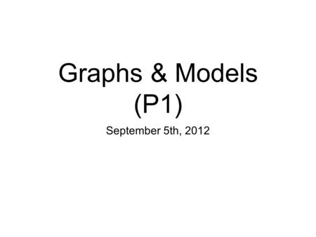 Graphs & Models (P1) September 5th, 2012. I. The Graph of an Equation Ex. 1: Sketch the graph of y = (x - 1) 2 - 3.