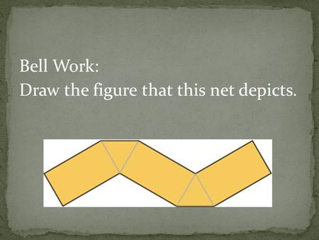 Bell Work: Draw the figure that this net depicts..