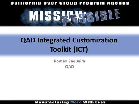 QAD Integrated Customization Toolkit (ICT)