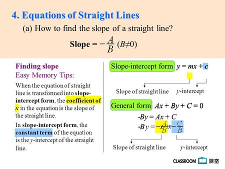 slope intercept form into general form  The slope-intercept form of a linear equation of a non ...