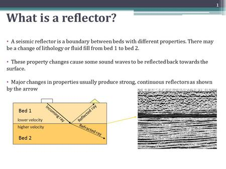 What is a reflector? There are many reflectors on a seismic section. Major changes in properties usually produce strong, continuous reflectors as shown.