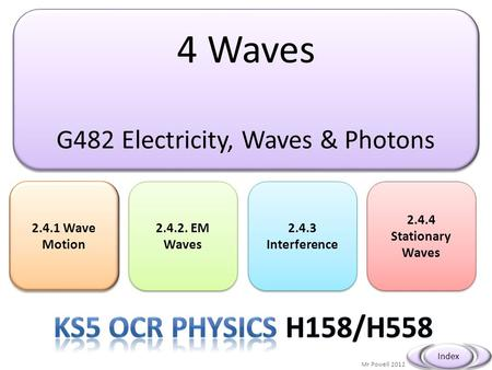 4 Waves G482 Electricity, Waves & Photons 4 Waves G482 Electricity, Waves & Photons 2.4.1 Wave Motion 2.4.1 Wave Motion Mr Powell 2012 Index 2.4.2. EM.