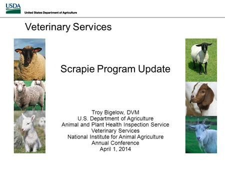 Scrapie Program Update Troy Bigelow, DVM U.S. Department of Agriculture Animal and Plant Health Inspection Service Veterinary Services National Institute.