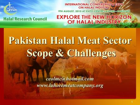 1 Pakistan Halal Meat Sector Scope & Challenges