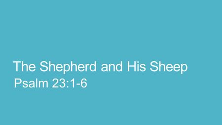 The Shepherd and His Sheep Psalm 23:1-6. 23 The L ORD is my shepherd; I shall not want. 2 He makes me to lie down in green pastures; He leads me beside.